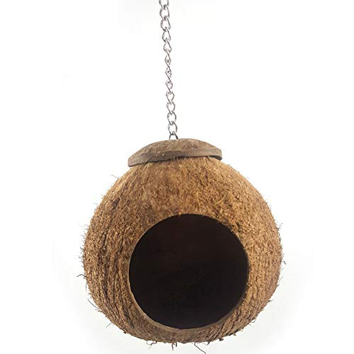 Ocamo Coconut Shell Bird Nest House Hut Cage Hanging Lanyard Feeder Pet Parrot Finches Sparrows Parakeet Bird nest]()