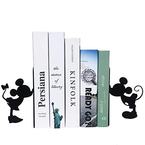 YOURNELO Cartoon Mickey Mouse Ironwork Nonskid Bookends for Children (Black)