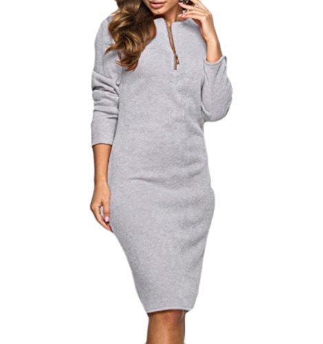 Confortables Femmes Manches Longues Couleur Pure Coupe Mince En Robe Mi-longueur De Velours Gris