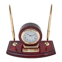 CollegeFanGear Stony Brook Executive Wood Clock and Pen Stand 'Interlocking SB Stony Brook Seawolves Engraved'
