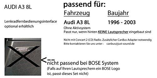 JUST SOUND best choice for caraudio Android Steuerung MP3 USB Autoradio JVC KD-X141 4x50Watt Einbauset f/ür Audi A3 8L