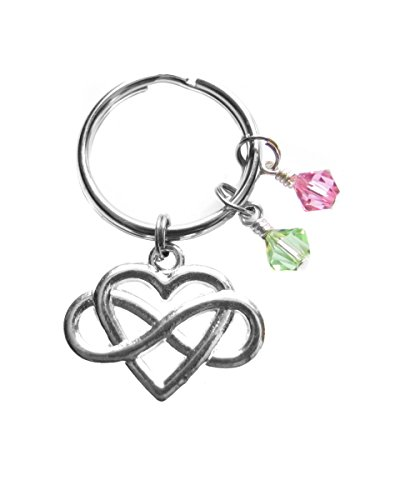 Custom Infinity Heart Swarovski Birthstone Crystals Key Chain for All Occasions