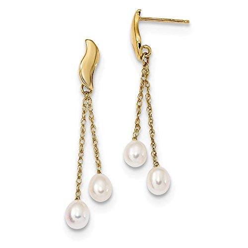 14k Yellow Gold 5mm White Rice Freshwater Cultured Pearl Drop Dangle Chandelier Post Stud Earrings Fine Jewelry Gifts For Women For Her Cultured Freshwater Rice Pearl Drop
