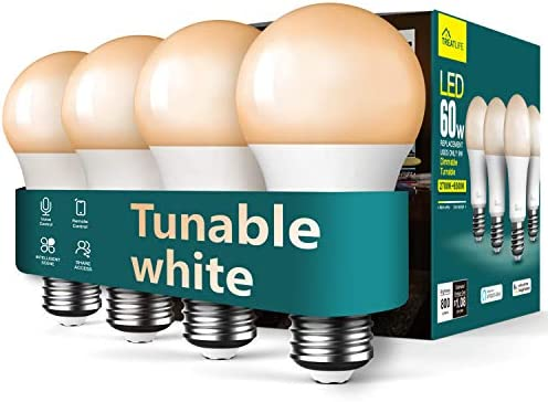 Smart Light Bulb Treatlife Smart Bulb, Tunable White Dimmable LED Light Bulb Works with Alexa and Google Assistant, 2.4GHz WiFi, 800LM, E26 A19 9W (60W Equivalent), No Hub Required, Smart Home