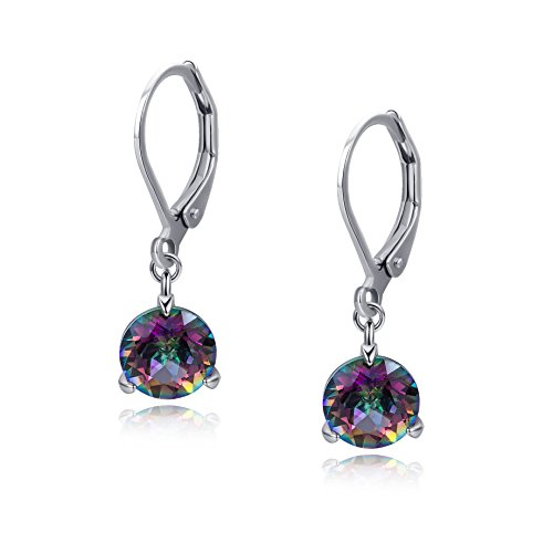 Best friend Teen Dangle Drop Leverback Earrings Nickel Free with Natural Rainbow Quartz 8mm White Gold - Earrings Quartz Dangling