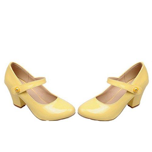 Tacco di Donna Velcro Tonda Ballet Punta Pelle Maiale AgooLar Flats Puro Giallo Medio fgEXH1q
