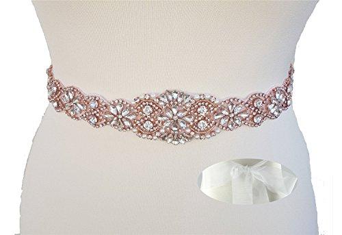(QueenDream Organza sash Belt White Organza Bridal sash Rose Gold Rhinestone Wedding sash Lace Wedding sash Belts for Dresses)