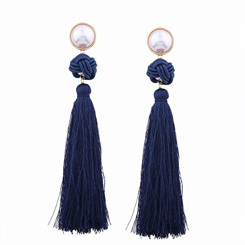 PLLP Stud Earrings, Earrings, Earrings, Earrings, Women's Jewelry, Fashion Personality Chinese Elements Chinese Knot Line Ear Fringe Long Earrings Retro Wild Temperament Earrings,Navy Blue,one Size (2 Pierced Piece Lighting)