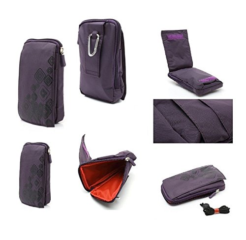 (DFV mobile - Multi-Functional Universal Vertical Stripes Pouch Bag Case Zipper Closing Carabiner for => BlackBerry Pearl 3G 9105 > Purple (16 x 9.5 cm))