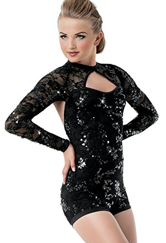 Sequin Cheer Briefs - Balera Biketard Girls One Piece For Dance Womens Stretch Lace And Sequin Costume Black Child Large