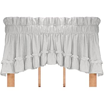 stephanie country style ruffle crescent valance curtain 3 inch rod pocket white