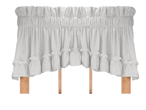 Stephanie Country Style Ruffle Crescent Valance Curtain – 1 1/2 Inch Rod Pocket, White For Sale