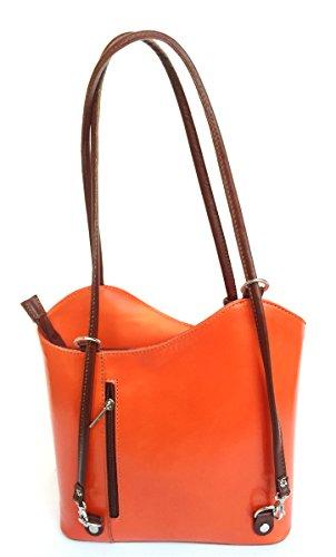 Superflybags Borsa A Mano O Zaino In Vera Pelle modello Micaela Prestige Made In Italy arancione marrone