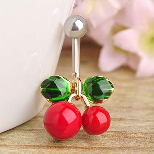 Navel Ring Cherry - Stainless Steel Thin Red Cherry Belly Navels Ring Enamel Plant Belly Button Rings Women Piercing Nombril 1.6 Cm Cherry