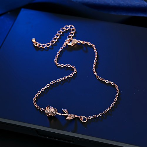 3UMeter Rose Women Girls Anklets Jewelry Exquisite Rose Gold Electroplate Brass Anklets Female, Great Foot Decoration Gift Valentine Mother's Day Birthday by 3UMeter (Image #7)