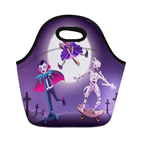 Tinmun Lunch Tote Bag Halloween Zombie Party Vampire Witch and Mummy Rush Reusable Neoprene Bags Insulated Thermal Picnic Handbag for Women -