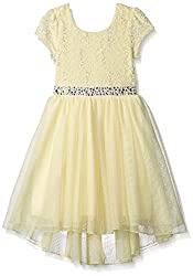 Girls' Sequin Lace Jeweled Dress