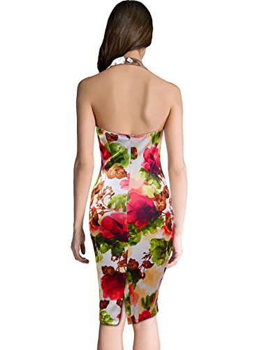 Fit Halterneck Bodycon KAXIDY Womens Slim Short Pencil Dress Dress Casual Floral qS8R4