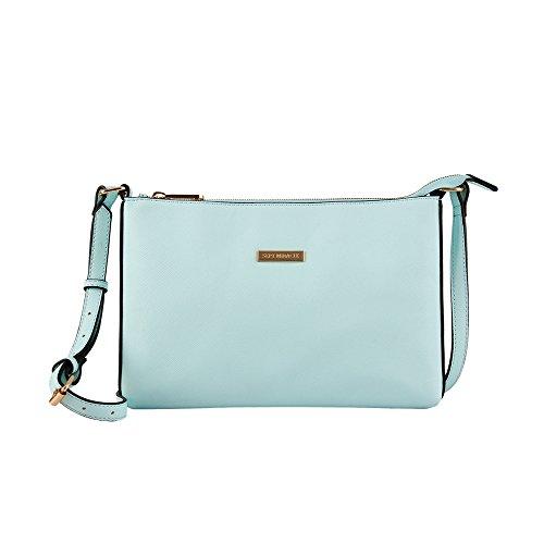 Lightweight Medium Cross body Bag Classic Modern Shoulder PU Leather Bag for Women and Girl (Aqua)