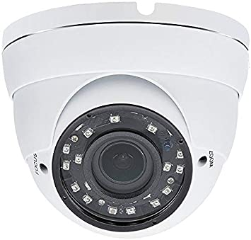 Evertech 1080p HD Security Camera 2.8 12mm Wide Angle Manual Zoom Vari-Focal Lens Indoor Outdoor Metal White Security Surveillance Dome Camera