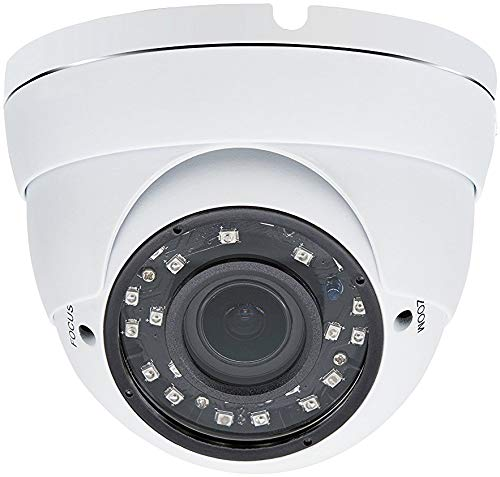 Evertech 1080p HD Security Camera 2.8~12mm Wide Angle Manual Zoom Vari-Focal Lens Indoor & Outdoor Metal White Security Surveillance Dome Camera