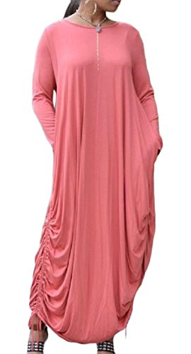 Pink Pendulum Solid Dress Women's Comfy Long Colored Big Baggy Sleeve gwXzwSnqIx