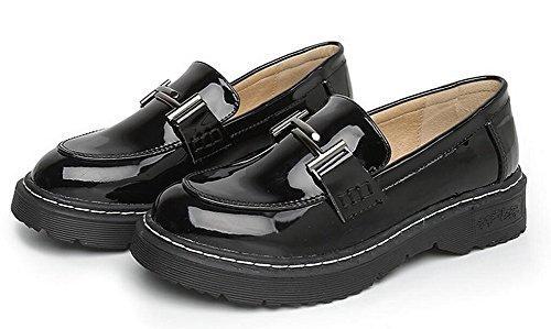 Kvinna Klänning Oxford Skor Läder Slip På Platta Skor Från Jiye Black-2
