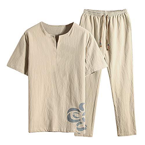 30abcf2f72 MOSERIAN Men's Summer Fashion Casual Printing Cotton-Hemp Short Sleeve Long  Pants Suit Khaki