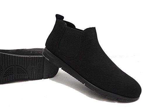 Chaussures Femme Frau 53h2 Noires Beatls Cuir Fabriqué En Italie