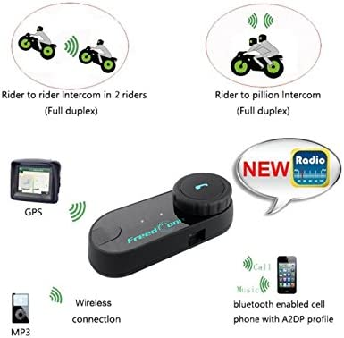 2 Units with Hard Cable FreedConn T-COMVB Bluetooth Motorcycle Helmet Headset Intercom Communication Headphone Universal Wireless for Motorbike Skiing Range-800M//2-3Riders Pairing//Black