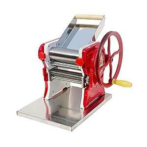 Macchina per pasta per noodle, manovella in acciaio inossidabile per spaghetti di spessore 0,5-5 mm, pressatura manuale rosso
