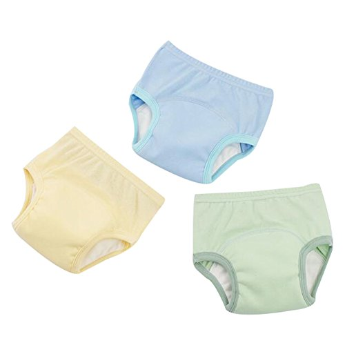 Happy childhood Pack 3 Baby Boys Girls Training Pants Diaper Nappy Underwear 4 Layers Waterproof Breathable (C, 95-105cm) by Happy childhood