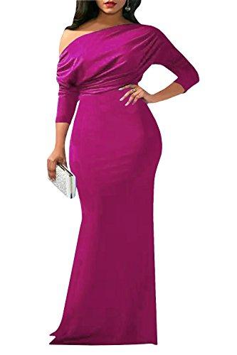 Quella Manica Rossa Indietro Partito Rosa Collo Sexy Da 4 Vestito Spalla Maxi V Bodycon Donne Chellysun Fuori 3 FqT5Y