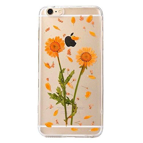 PowerQ Bunte Echt Blumen Probe Exemplar Serie Tasche TPU Hülle Etui Fall Case Cover < 2 sunflower   für IPhone6SPlus IPhone 6SPlus 6Plus IPhone6Plus >        Colorful Real Flower Specimen mit Staubstecker we
