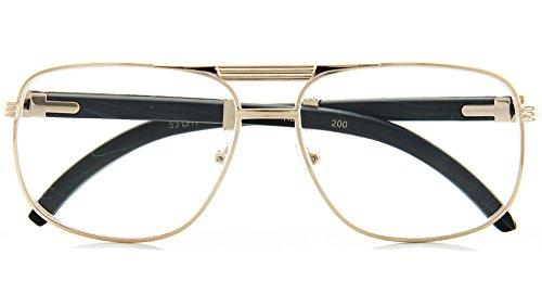 Hollywood Reading Glasses - Mens Square Aviator Reading Glasses Wood Pattern Arm Glasses (+1.50, Ebony/Gold)