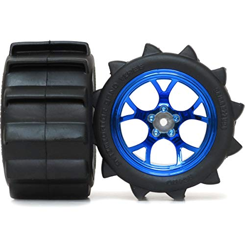 - hobbysoul 2pcs RC 2.2 Paddle Tires Sand Mud Snow Tyre 94mm Height & 2.2 Truck Wheel Rims hex 12mm