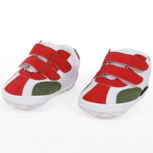 Dimo Baby Sneaker aus Stoff, Skater Schuh mit Klettverschluss-Laschen, weiß/rot/khaki, erste Babyschuhe mit rutschfester Gummisohle Größe S