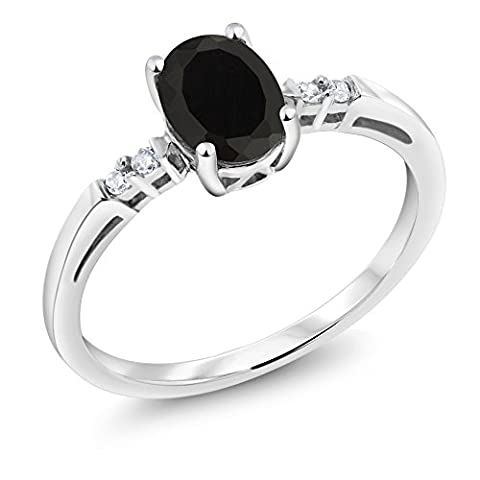 14K White Gold 0.83 Ct Oval Black Onyx White Diamond Women's Ring (Available in size 5, 6, 7, 8, 9) - Set Oval Onyx Ring