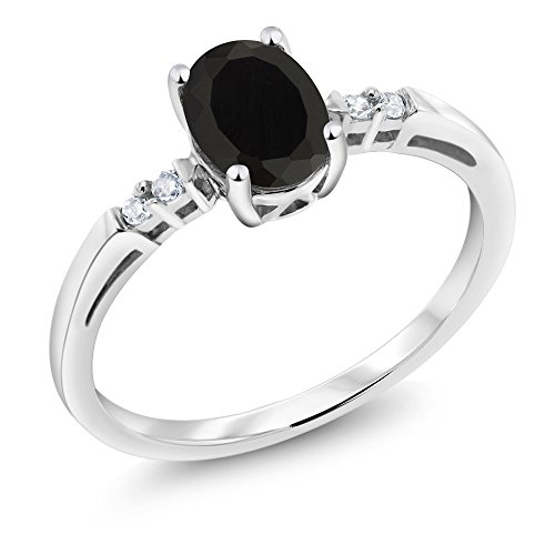 (Gem Stone King 14K White Gold 0.83 Ct Oval Black Onyx Diamond Accent Solitaire Engagement Ring (Size)