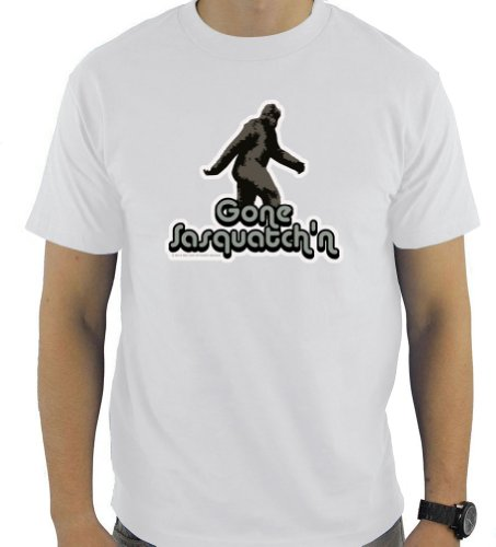 Big Cat Sticker Shack Men's Tshirt - Gone Sasquatch'n - Small - White