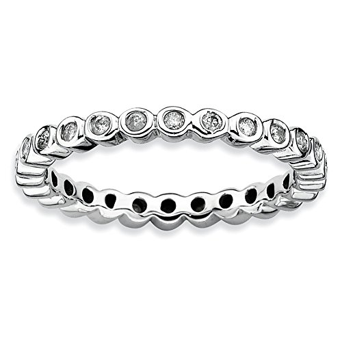 Diamond (I3, J-K 0.286 cttw) Size 9 2.5mm Bezel Set Eternity Band Silver Stackable Expressions Ring (Diamond Band Set Eternity)