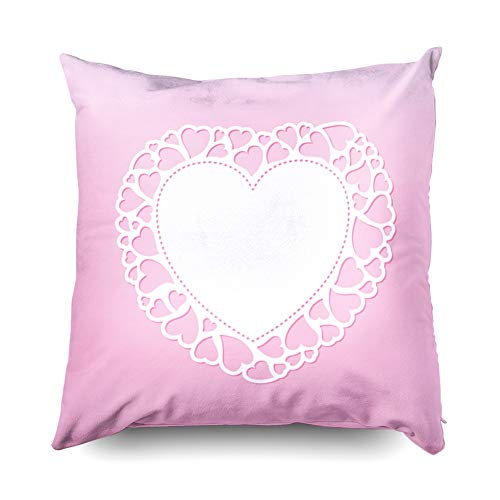 Jacrane Farmhouse Throw Pillow Covers, Decorative Square Throw Pillowcase 18X18 Openwork Valentine Card Small Hearts Laser Cutting Template Suitable Greeting Cards Envelo Soft Art Gift with - Zip Moc