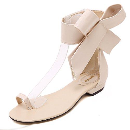 Single shoes - female Sandalias planas del dedo del pie grandes del verano huecos zapatos de velcro (Color : Negro, Tamaño : 36-Shoes long230mm) Albaricoque