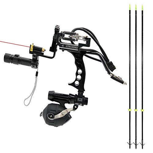 HBG Archery Hunting Fishing Arrows Slingshot Kit Outdoor Powerful Folding Professional Adjustable Shooting Slingshot Bow with 3Pcs Fiberglass Fishing Arrows Rubber Bands