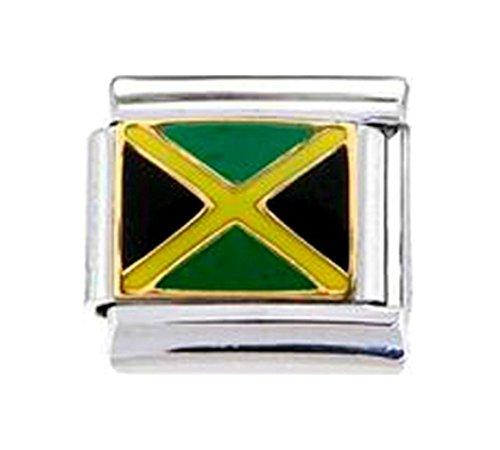 Stylysh Charms JAMAICA JAMAICAN FLAG Enamel Italian 9mm Link PE020 - Flag Enamel Italian Charm
