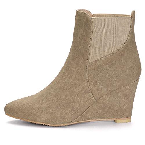 Allegra K Women's Pointed Toe Elastic Wedge Ankle Boots Brown 8 UK Cjc9KkKg