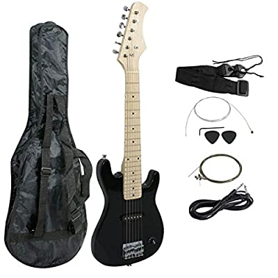 """Smartxchoices 30"""" Inch Kids Electric Guitar With 5W Amp Case Strap Black Package"""