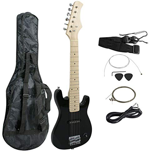 Smartxchoices 30″ Kids Mini Electric Guitar Bass Guitar Bundle Kit for Beginners Starter with Gig Bag Cable Strap Picks Combo Accessory Holiday Gift