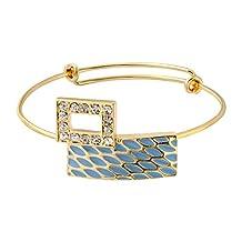 SENFAI Gold Silver and Rose gold Color Geometric Woman Copper Bangle Bracelet