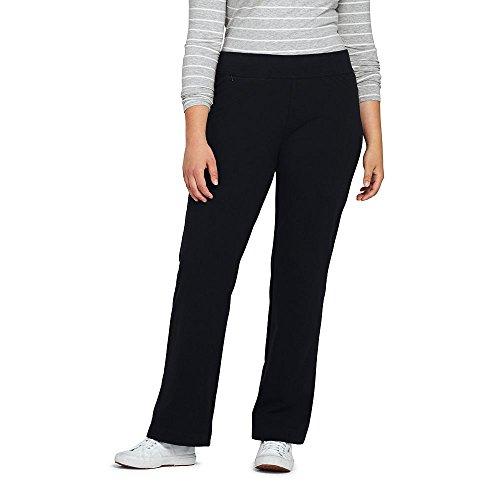 Lands' End Women's Plus Size Starfish Pants, 1X, Black (Stretch Knit Jersey Pants)